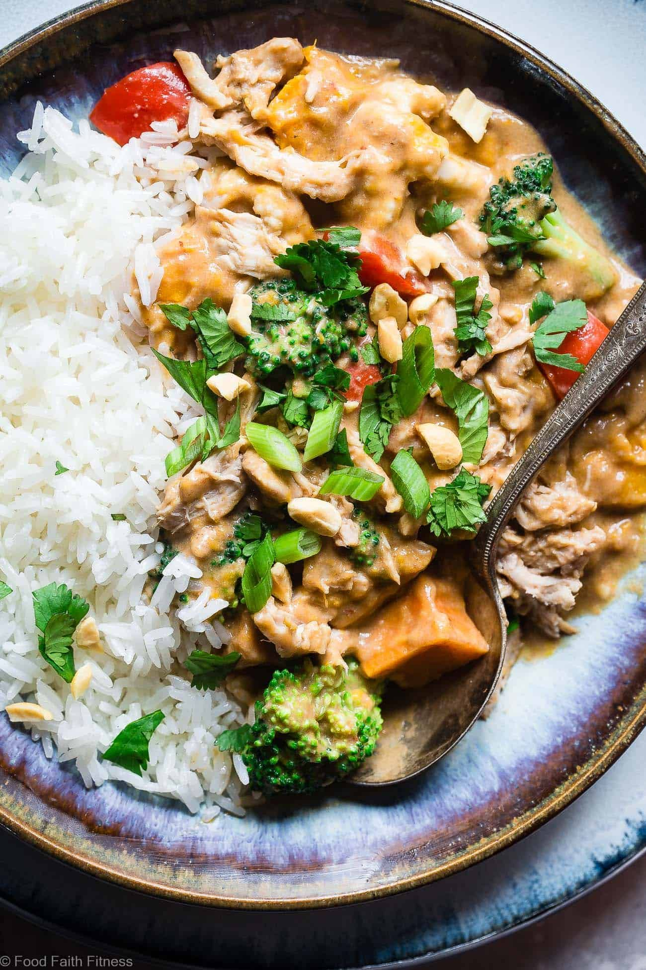 Easy crockpot thai peanut butter chicken curry the slow
