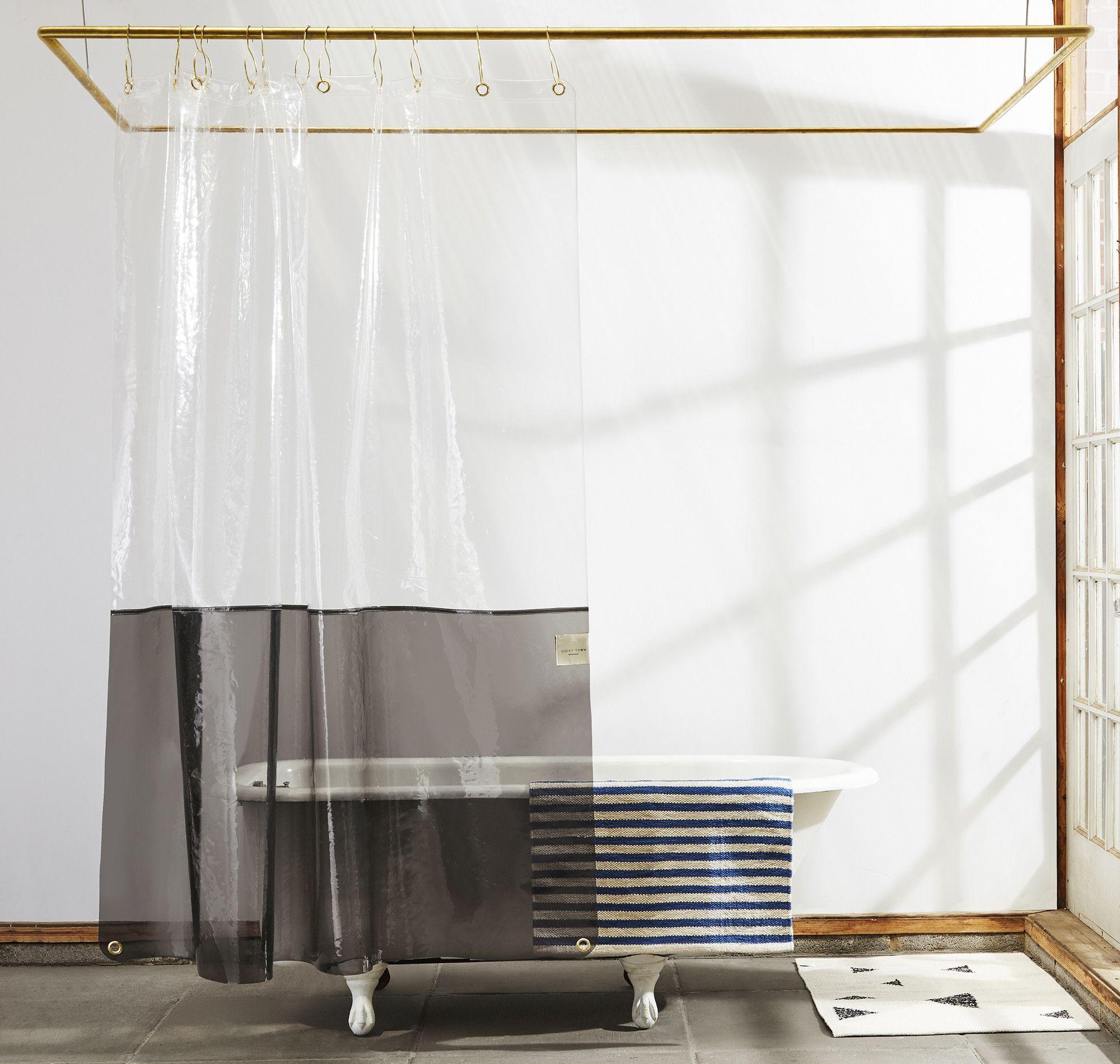 Sun Shower Clear Black Eva Shower Curtain Quiet Town Vinyl Shower Curtains Curtains Bathroom Design