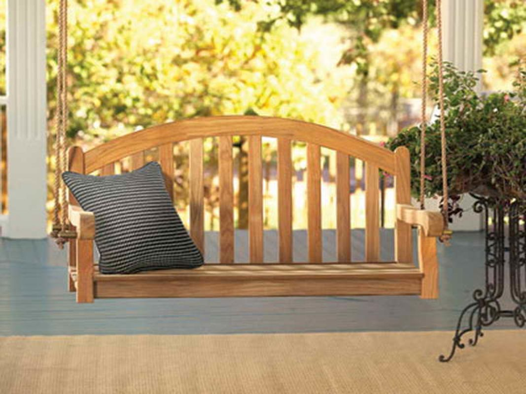 Wood Porch Swing With Simple Design Porch Swing Swing Chair Outdoor Teak Garden Bench