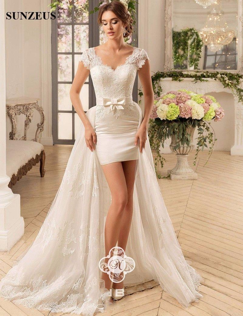 Detachable train high low sexy short wedding dresses sweetheart cap