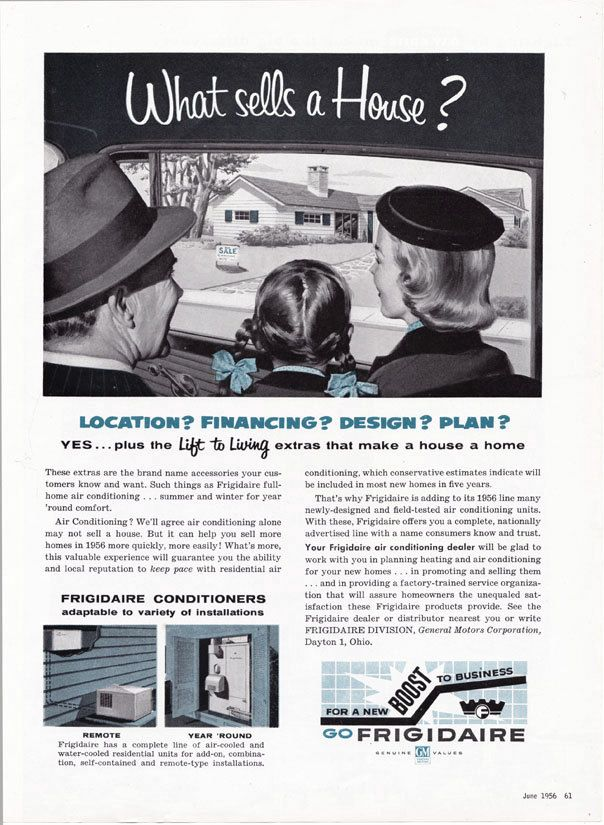 Vintage ad 1956 Frigidaire Air Conditioning real estate