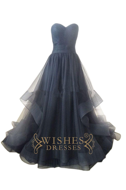 Aline sky blue organza long prom dress wedding dress am