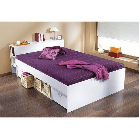 Lit Plate Forme 1 2 Personnes Avec Rangements Blanc Prune Vue 1 Amenagement Chambre Lit Plat Decoration Maison