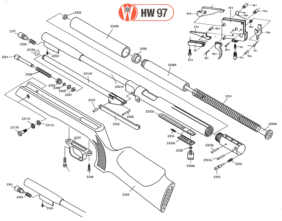 Product Schematics for Beeman HW97K Air Rifle, Thumbhole