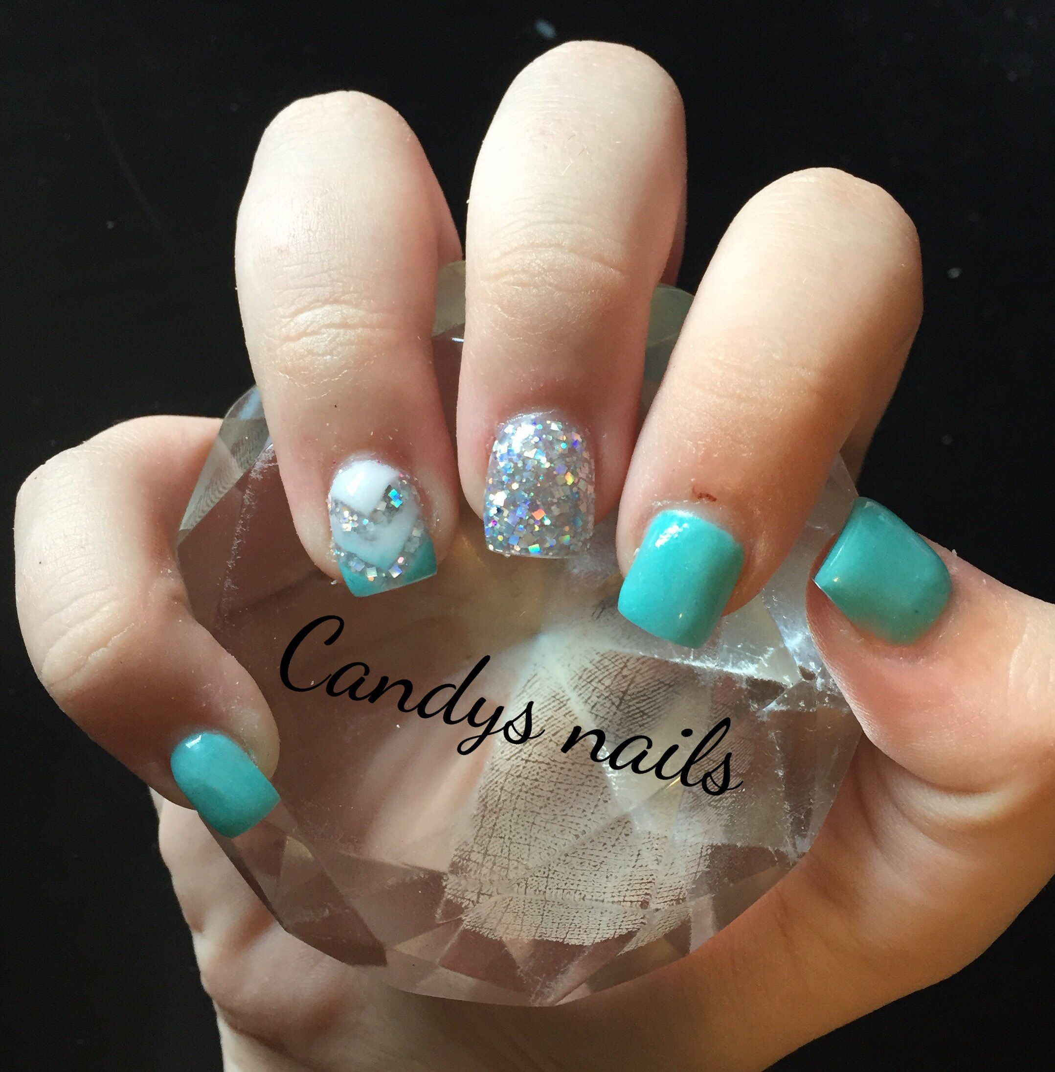 Teal white and silver glitter design acrylic nails!