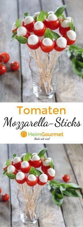 Hübscher Tomaten-Mozzarella-Blumenstrauß #appetizersforparty
