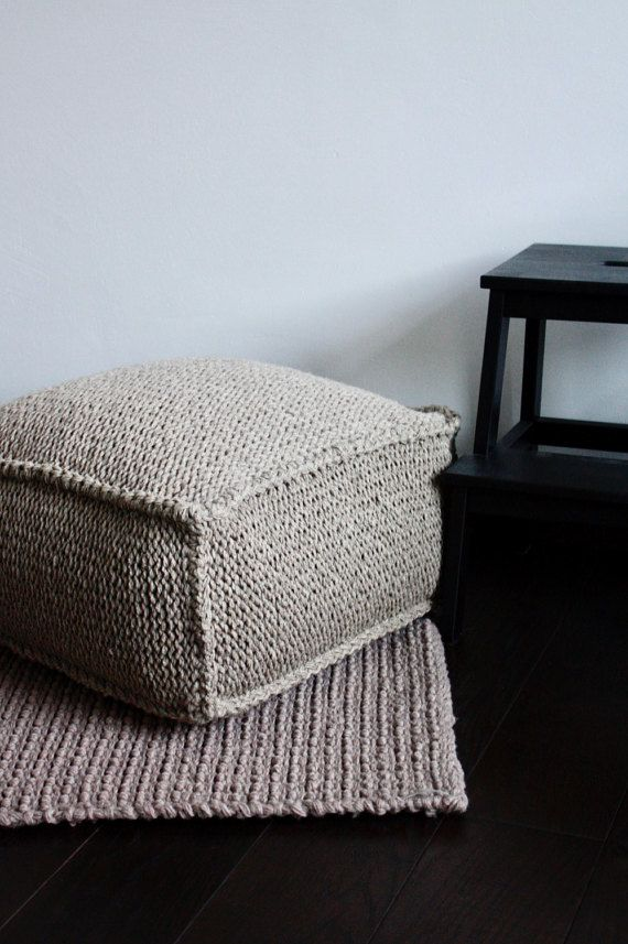 Astonishing Wool Footstool Brown Knit Pouf Square Knitted Pouf Knitting Cjindustries Chair Design For Home Cjindustriesco