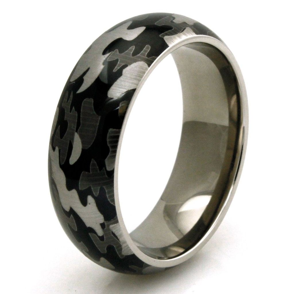 Mens Outdoorsman Tungsten Wedding Ring Band Etched Camo Pattern