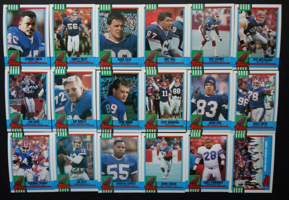 1990 topps buffalo bills team set of 18 football cards