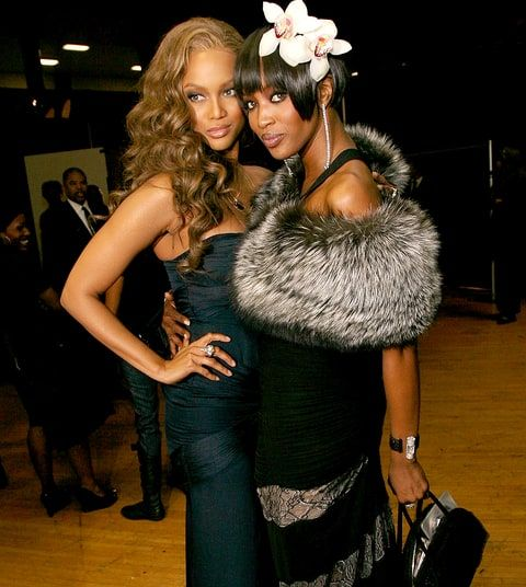 Tyra Banks and Naomi Campbell pose for photos backstage during the 38th annual NAACP Image Awards held at the Shrine Auditorium on March 2, 2007 in Los Angeles, California.