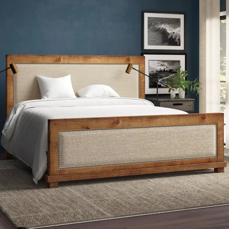 Lark Manor Castagnier Upholstered Standard Bed Reviews Wayfair Wood And Upholstered Bed Upholstered Beds Upholstered Panel Bed Upholstered bed with wood trim