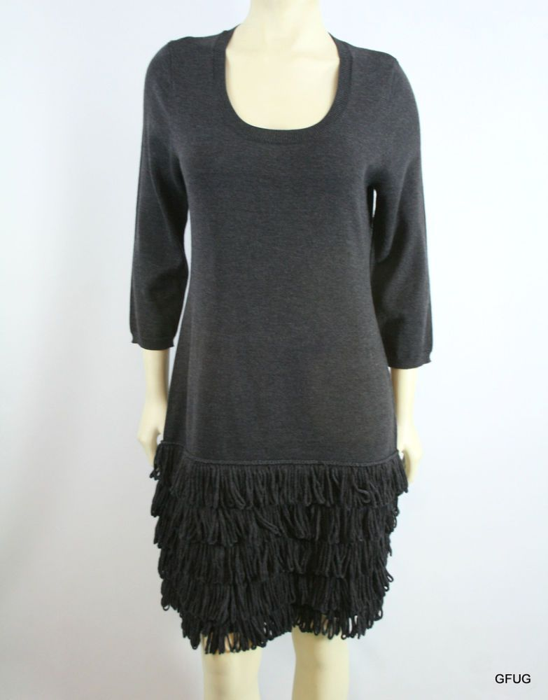 09577157e8669b CALVIN KLEIN Sz L Gray Knit Tiered Fringe Trim Sweater Dress NEW 134 # CalvinKlein #SweaterDress