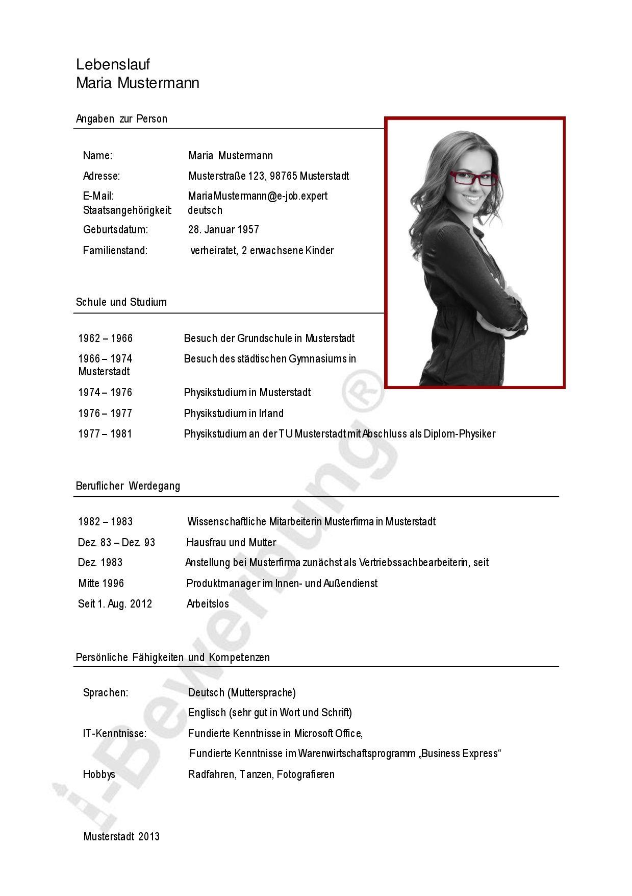 lebenslauf deutschland checkliste bewerbung. auszug aus einem ...