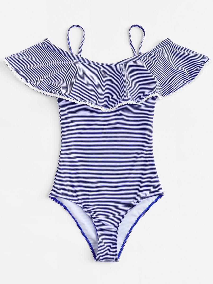008cf093b9 Striped Flounce Swimsuit -SheIn(Sheinside)