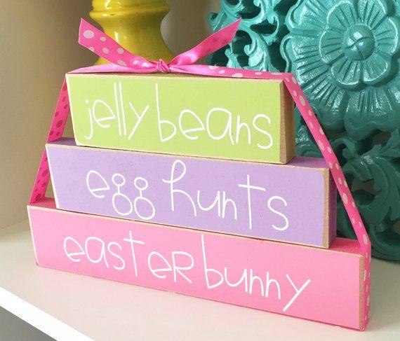 Photo of Easter Blocks – Easter Shelf Sitter Decor – Easter Mantle Decor