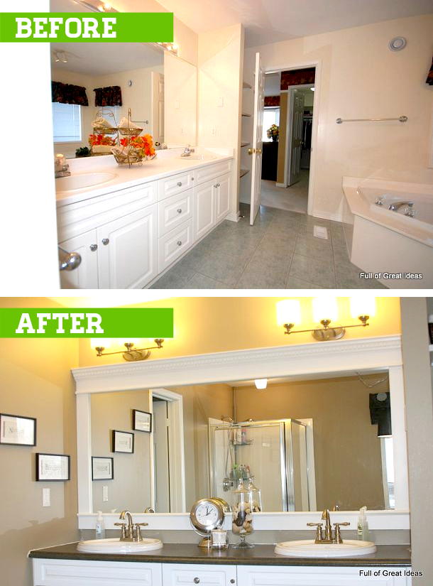 How To Upgrade Your Builder Grade Mirror Frame It Cost Us Around 30 Bathroom Mirrors Diy Bathroom Mirror Frame Diy Apartments