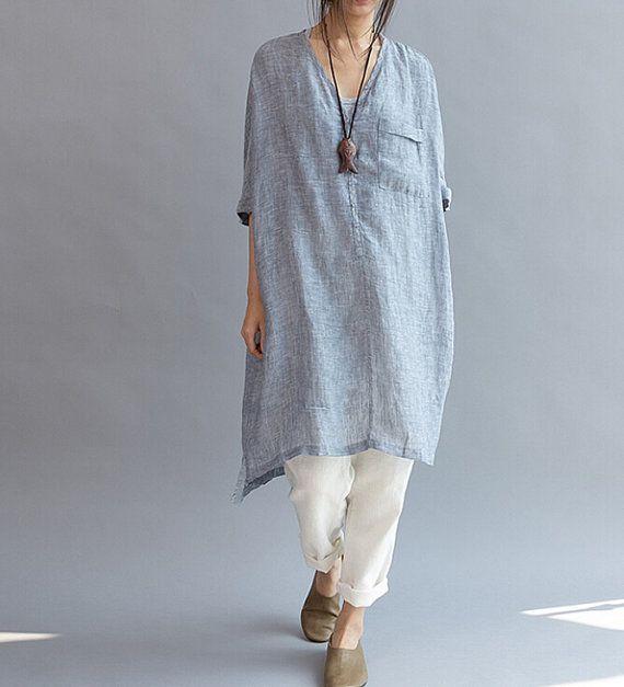 Women loose fitting linen long dress asymmetric oversized for Long linen shirts for womens