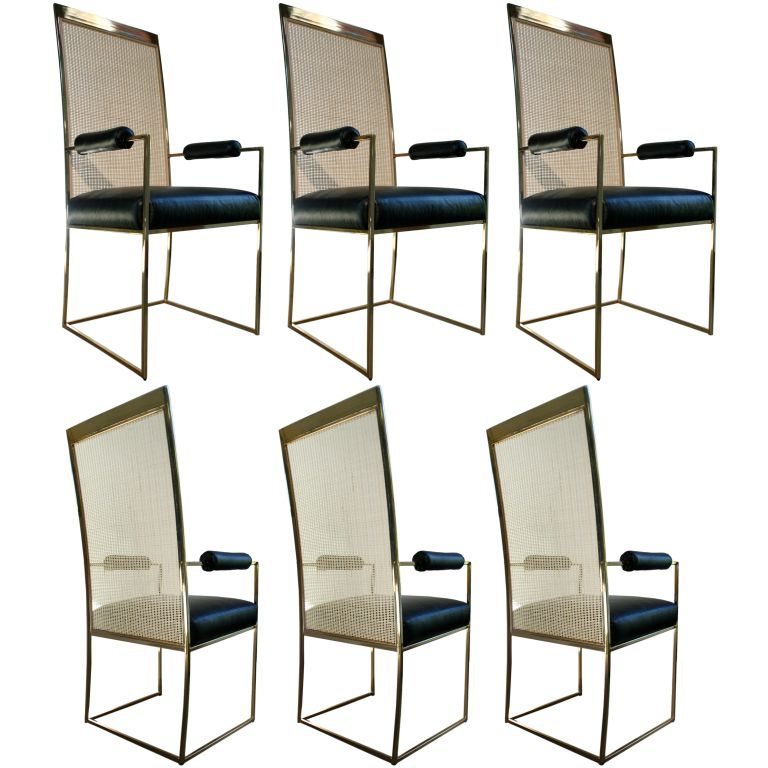 Milo Baughman Brass Cane Back Leather Dining Armchairs