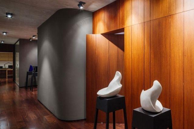 Wanddesign Ideen-modern Holz-getäfelte-Wand Casa-Planalto - wanddesign