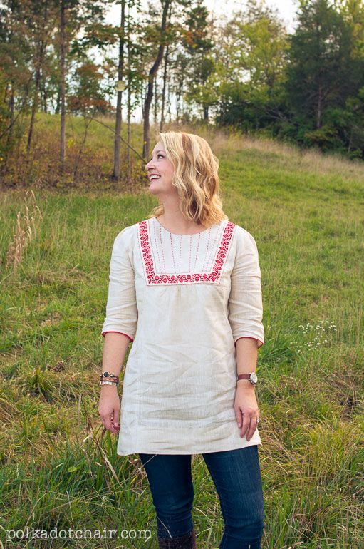 70\'s Inspired Embroidered Linen Tunic, a Sewing Pattern | Tunic ...