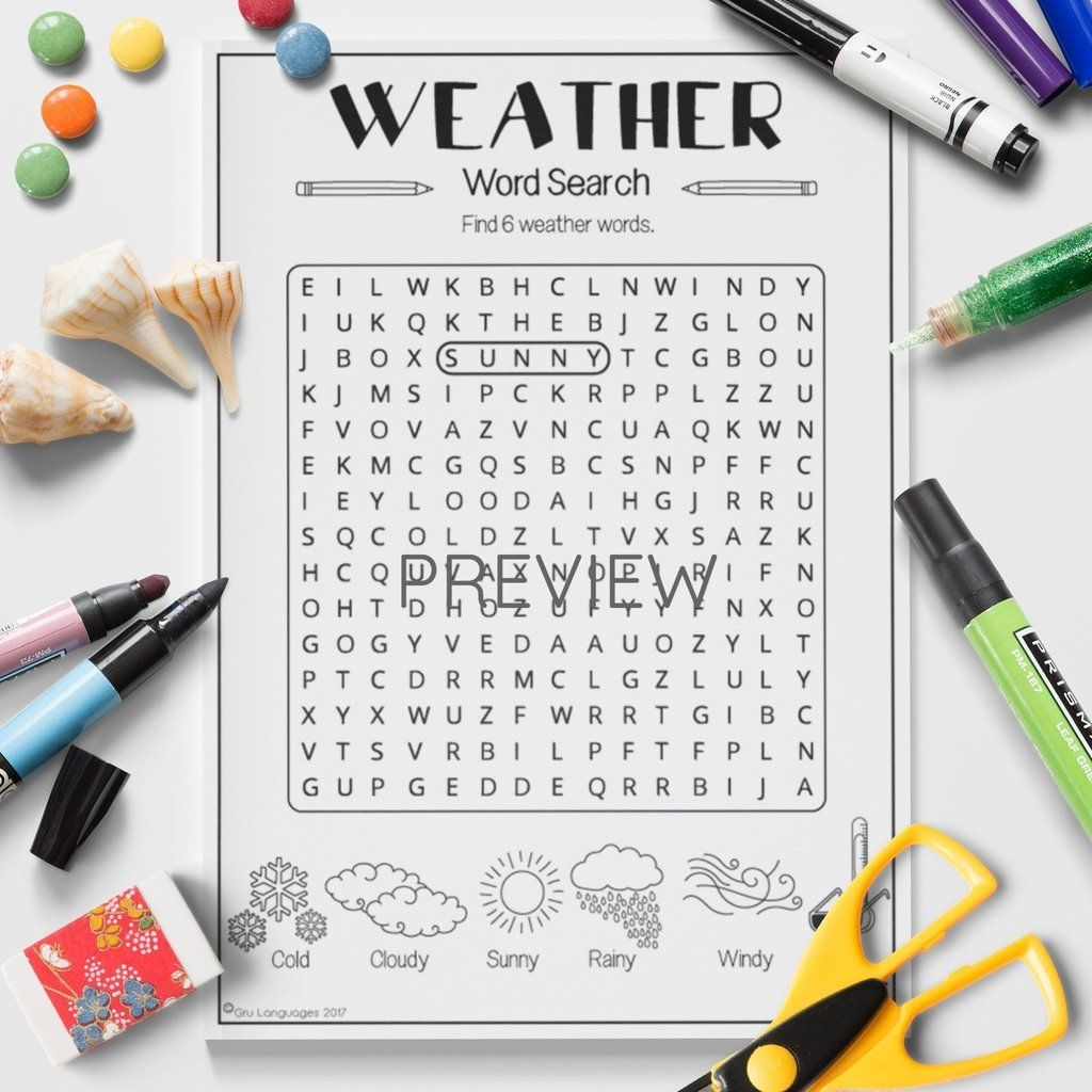 Weather Word Search Con Immagini