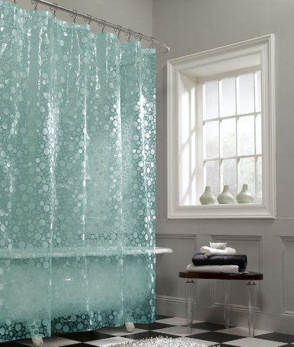 Maytex Mills Fun Bubbles Peva Vinyl Shower Curtain Aqua Hall Bath