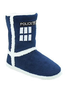 ab405862b811 Blue slipper boots with soft and cozy white lining and embroidered TARDIS  designs. BR