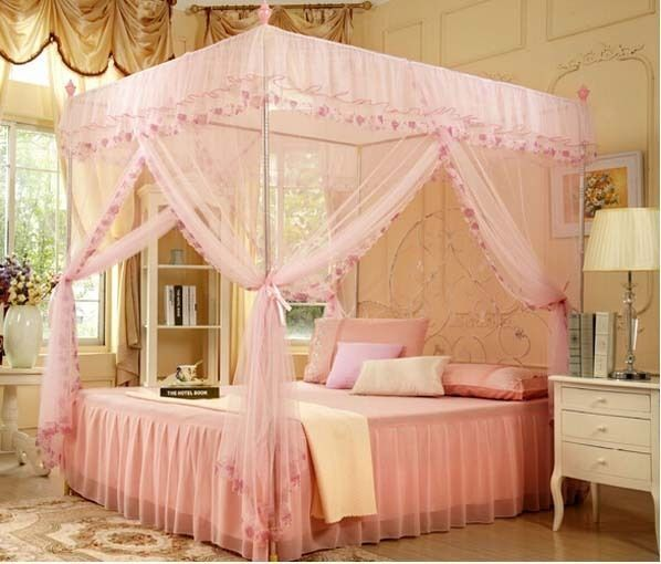 4 Corners High QC Post Bed Canopy Mosquito Net Size Twin-XL Full ...