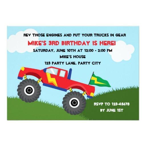 Monster Truck Invitation - Boys #Birthday
