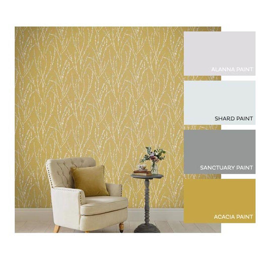 Floret Mustard Wallpaper Yellow Wallpaper Graham B