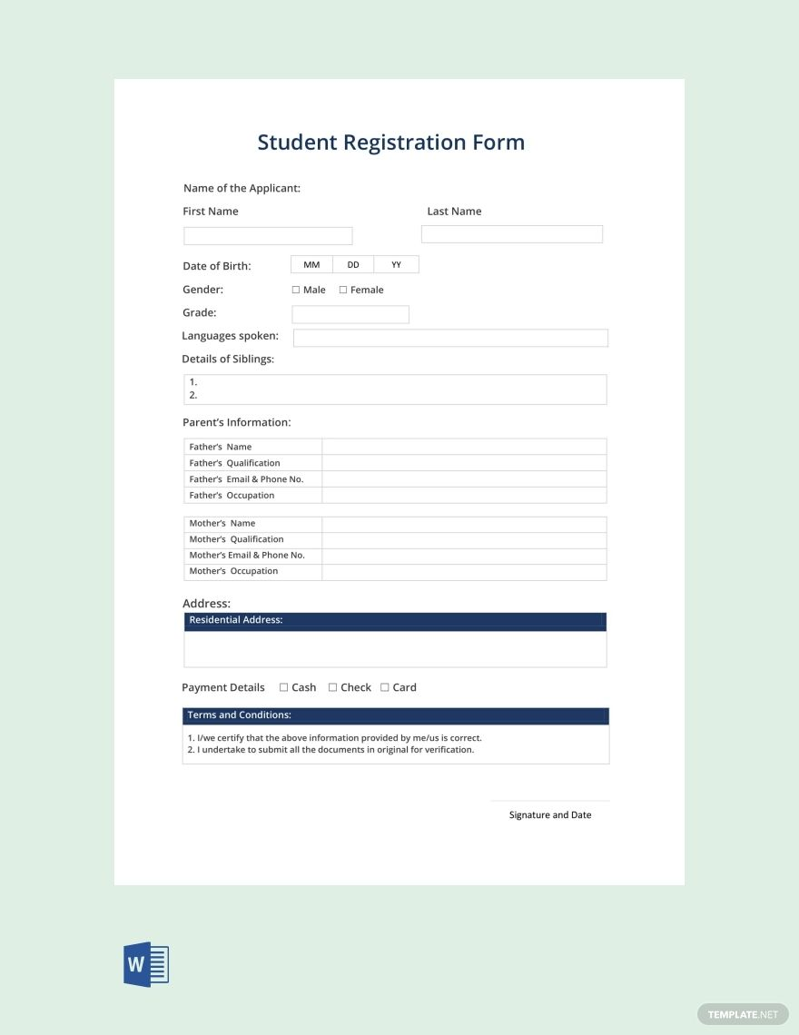 Free Student Registration Form Template In 2020 Registration Form Words Word Free