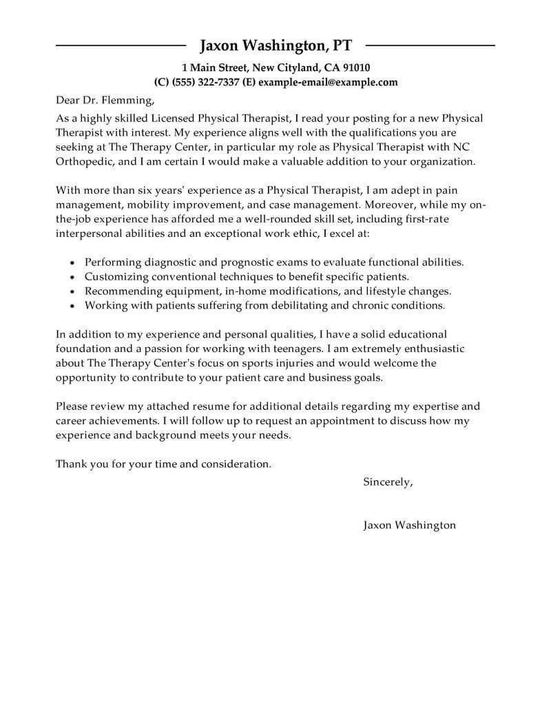 Cover Letter Template Physical Therapy Cover Letter Example Cover Letter For Resume Cover Letter Template