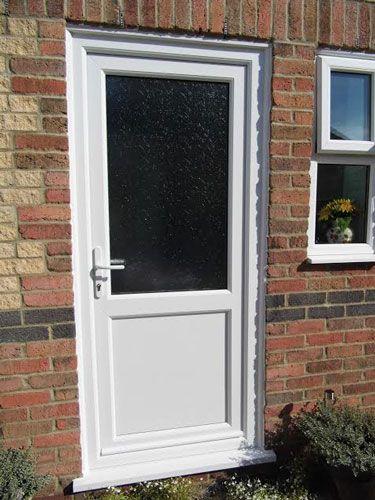 Half glazed flat panel 2xg style upvc back door upvc for Upvc french doors with top light