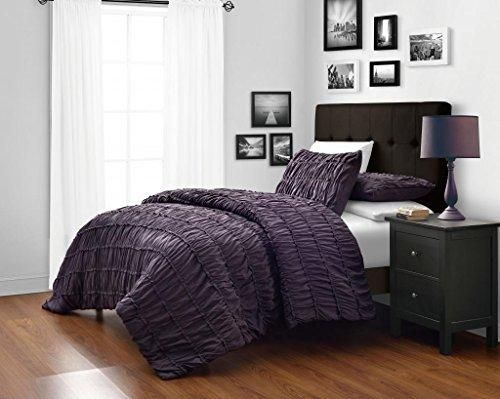 Dark Purple King/Cal King Size 3 Piece Ruched Duvet Cover Set With
