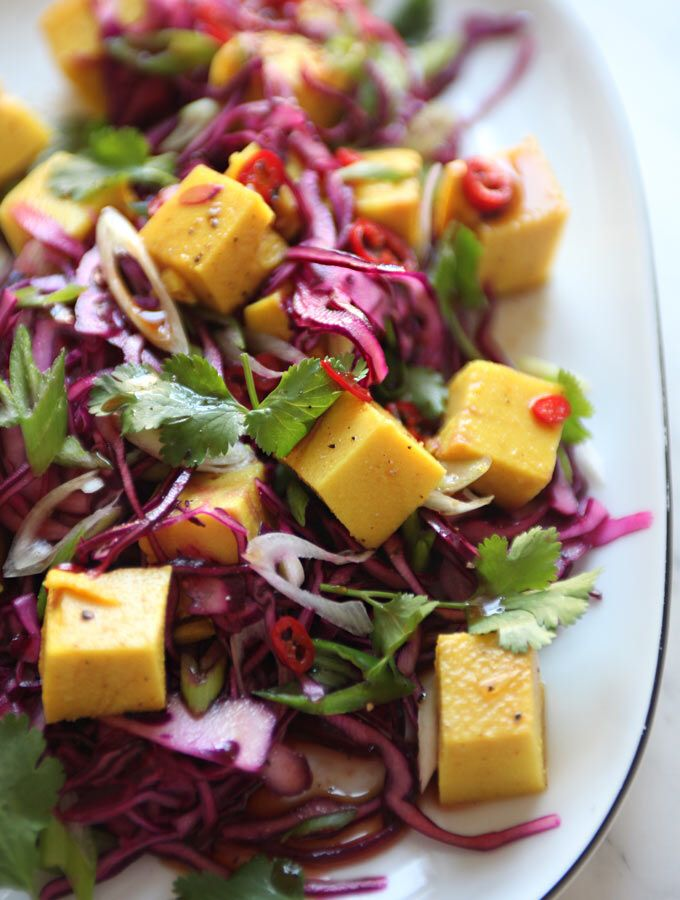 Chickpea based tofu in a cabbage salad   Cooking and