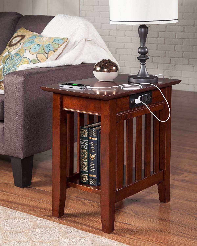 Atlantic Furniture Ah13214 Mission Side Table Rubber Wood Walnut Atlantic Furniture Side Table Wood Chair Side Table