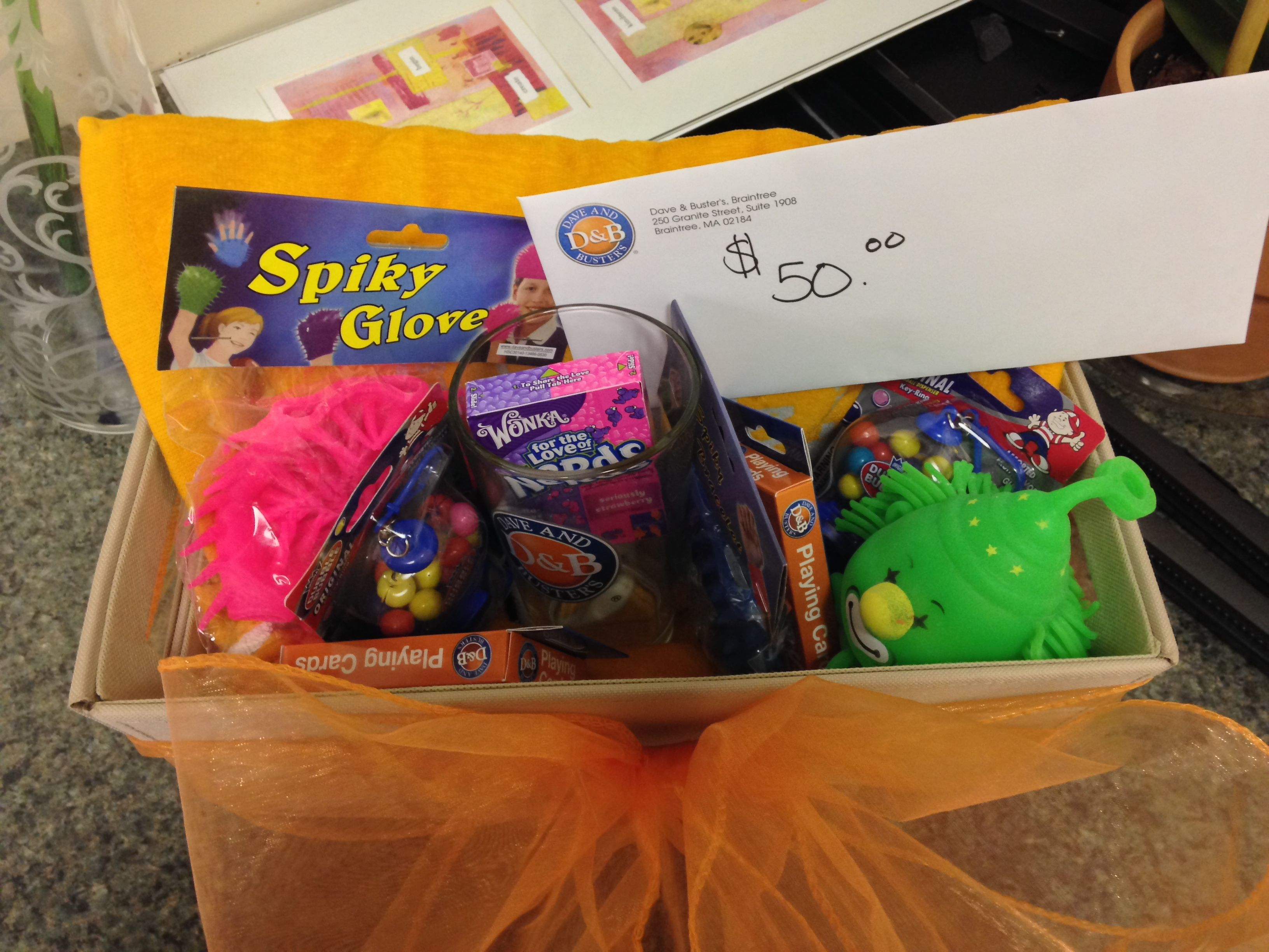 Dave & Busters Gift Basket gives you fun little prizes and candies