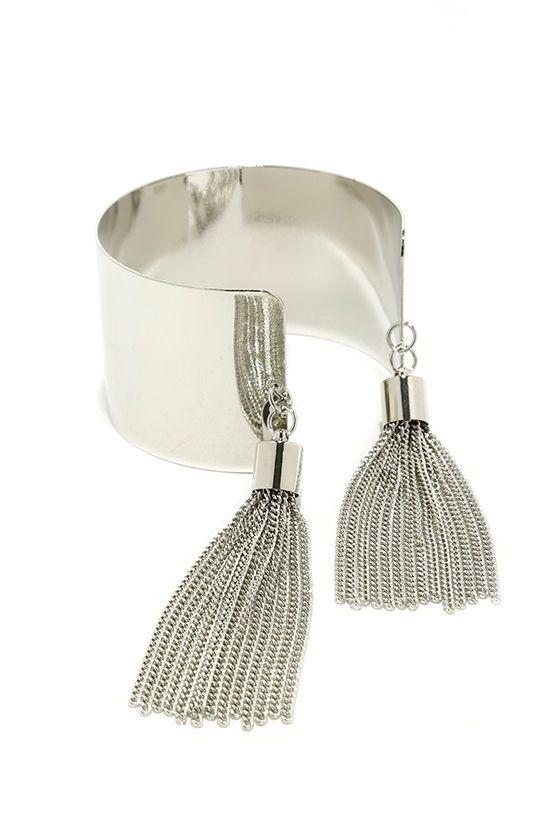 Tassel Tamer Silver Cuff Bracelet Pulseras originales, Brazalete y