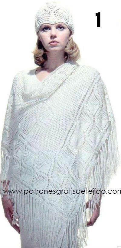 patron de chal blanco crochet | Crochet y Dos Agujas | Pinterest ...