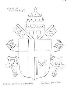 Pope John Paul Ii Crest Coloring Sheet Sunday School Catholic