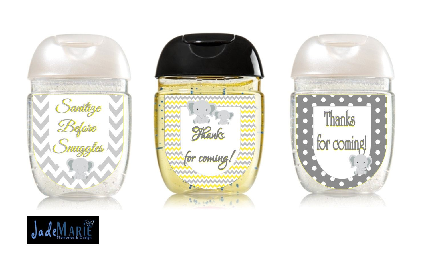 Little Elephant Hand Sanitizer Labels Baby Shower Favors Yellow