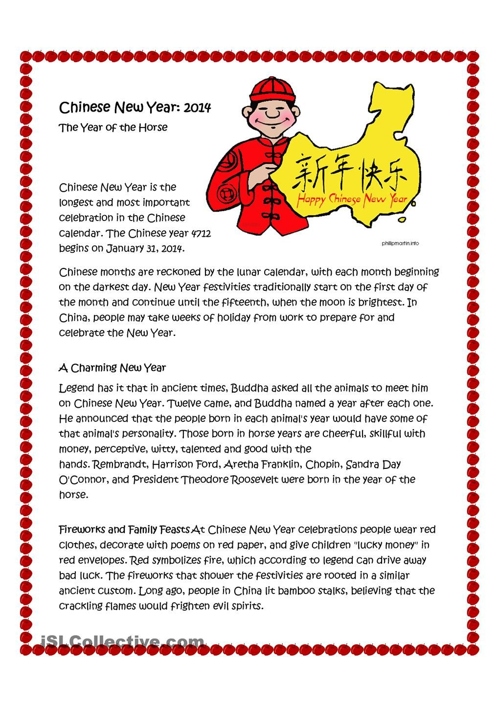 Chinese New Year Life Science Reading Comprehension Reading Comprehension Worksheets [ 1440 x 1018 Pixel ]