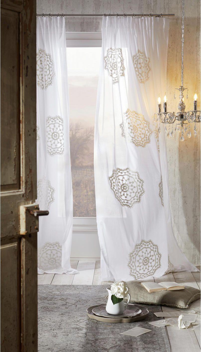 Fertigvorhang, Weiß, Kombiband, Ornamente, halbtransparenter ...