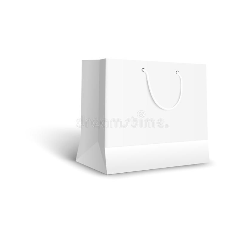 Download White Paper Bag For Retail Shop Purchase Blank Mockup For Gift Package Or Store Merchandise Vector Illustration Gift Bag Templates Gift Packaging Paper Bag