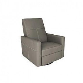 Dutailier Minho Upholstered Glider - Recline, Swivel with Built-in Footrest - Castle Grey Fabric