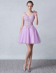 Cocktail+Party+Dress+-+Lilac+/+White+A-line+V-neck+Short/Min...+–+USD+$+94.99