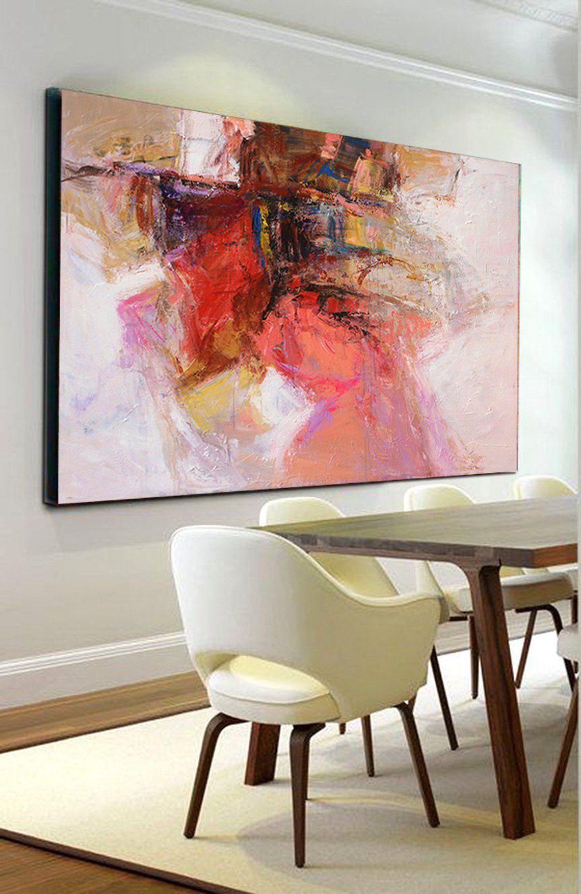 large wall art abstract painting contemporary modern original canvas red abstrakte malerei abstrakt moderne bilder hirsch gemälde
