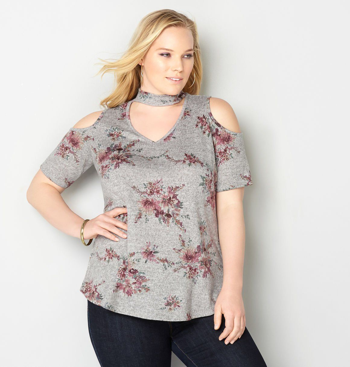 c6d30a67409 Shop pretty sexy tops for summer like our Floral Cold Shoulder Choker  Tunic, available in plus sizes 14-32 at avenue.com. Avenue Store