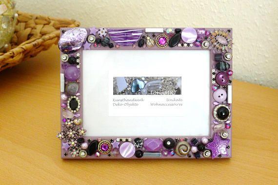Picture frame, rhinestone, photo frame, vintage style, button art ...
