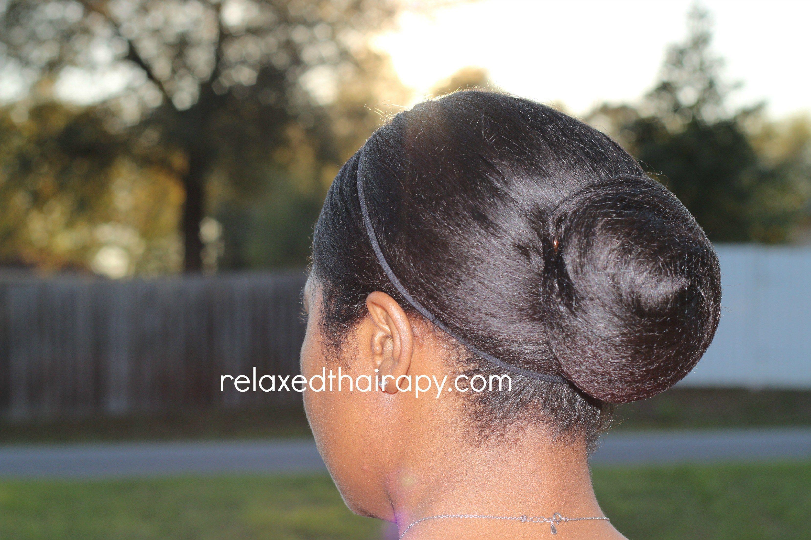 Achieve A Neat Hair Bun On Relaxed Hair Transitioning Hairstyles Bun Hairstyles Relaxed Hair